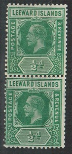 LEEWARD ISLANDS - 1931 1/2d COIL JOIN mint pair.  SG 82.