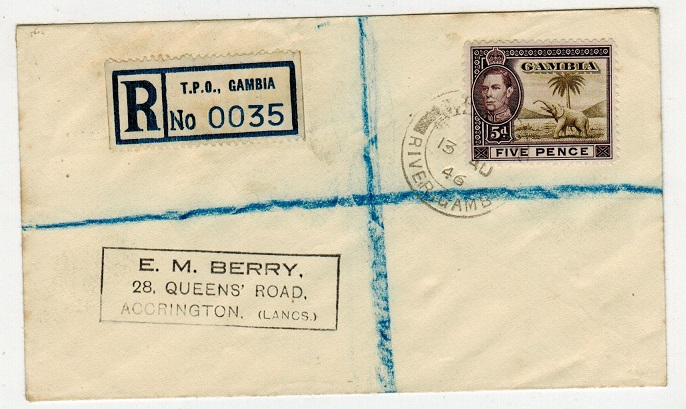 GAMBIA - 1946 5d rate registered cover to UK used at TPO RIVER GAMBIA.