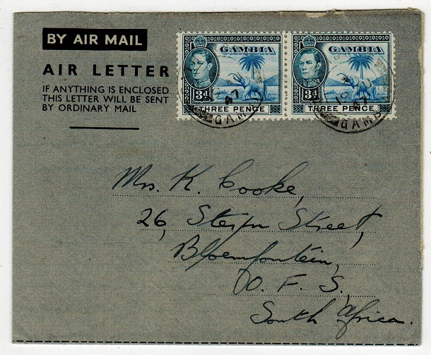 GAMBIA - 1947 6d rate use of FORMULA air letter to Bloemfontein from BATHURST.
