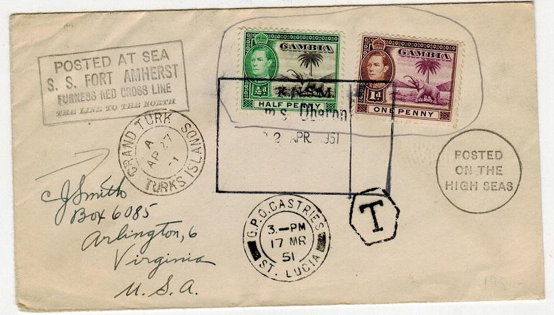 GAMBIA - 1951 S.S. FORT AMHERST maritime cover to USA taxed at St.Lucia.
