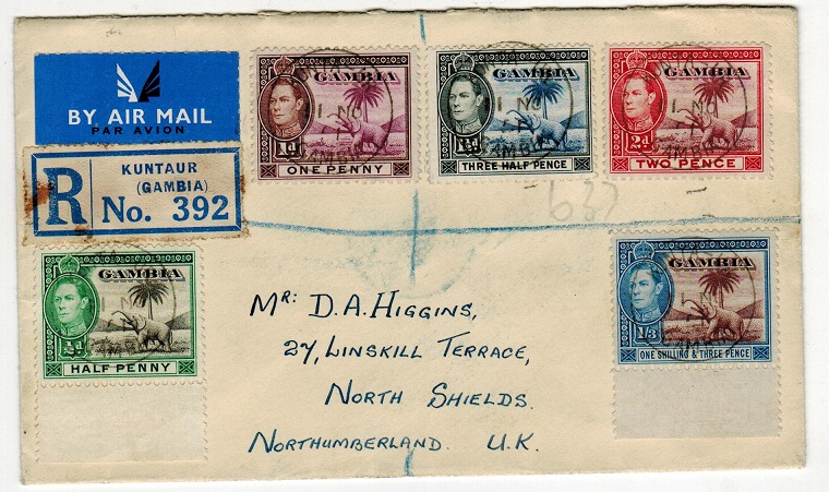 GAMBIA - 1951 registered cover to UK used at KUNTUR-UR.