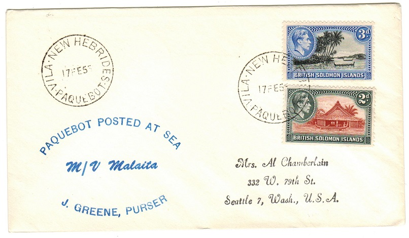 NEW HEBRIDES - 1955 M.V.MALAITA maritime cover to USA with NEW HEBRIDES/PAQUEBOT cancel.