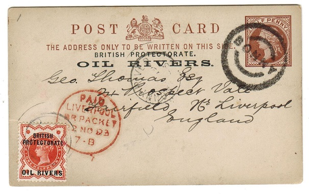 NIGER COAST - 1892 1/2d PSC to UK with rare BONNY parcel strike and (1/2d adhesive added).