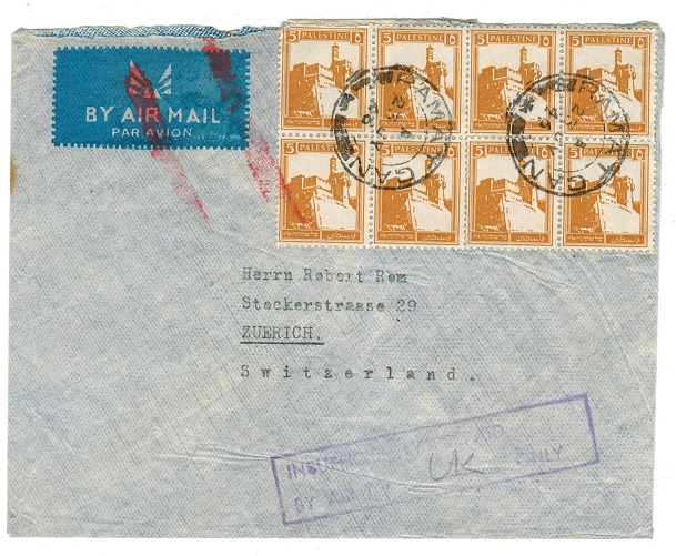 PALESTINE - 1946 INSUFFICIENTLY PRE-PAID cover to Switzerland used at RAMAT.