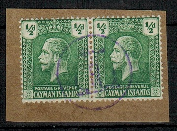 CAYMAN ISLANDS - 1921 1/2d green pair (SG 70) with