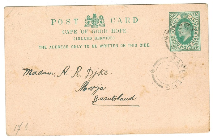 BASUTOLAND - 1903 PSC of Cape Of Good Hope written at Malumeng and posted through MAFETENG.