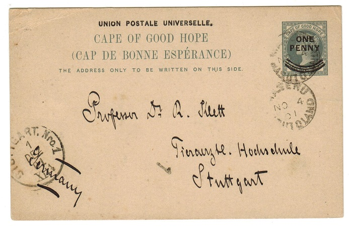 BASUTOLAND - 1897 1d on 1 1/2d PSC of Cape used at MASERU.  H&G 12.