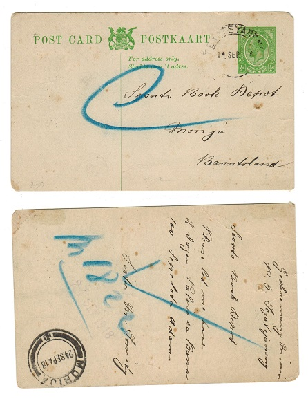 BASUTOLAND - 1917 1/2d South Africa PSC used at TEYATEYANENG with likely manuscript censor mark.