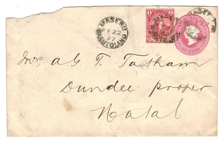 BASUTOLAND - 1882 1d PSE of Cape uprated with Cape 1d to Natal and used at MASERU.