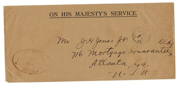 ANTIGUA - 1923 OHMS envelope to USA cancelled OFFICIAL PAID/ANTIGUA.