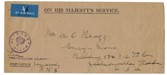 JAMAICA - 1943 OHMS cover to USA cancelled by violet OFFICIAL FREE handstamp at KINGSTON.