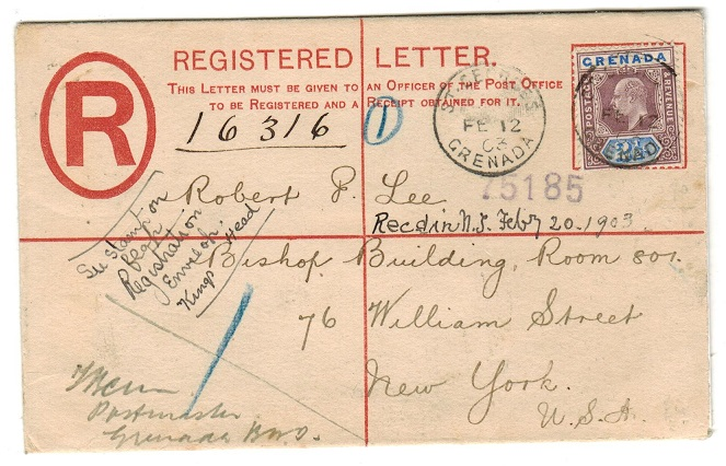 GRENADA - 1901 2d RPSE uprated with 2 1/2d to USA used at ST.GEORGES.  H&G 3.