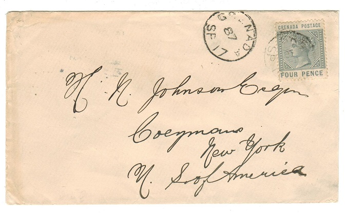 GRENADA - 1887 4d rate cover to USA.