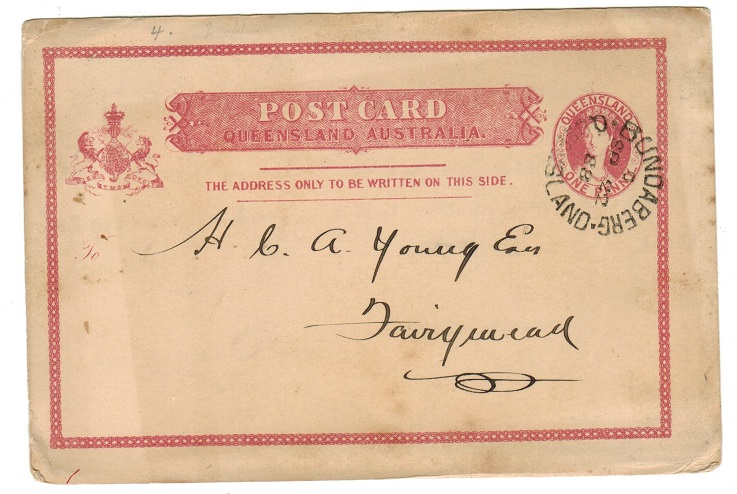 AUSTRALIA (Queensland) - 1881 1d PSC used locally from BUNDABERG.  H&G 3.
