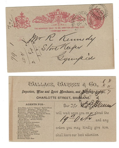 AUSTRALIA (Queensland) - 1889 1d PSC used at BUNDABERG.  H&G 9.