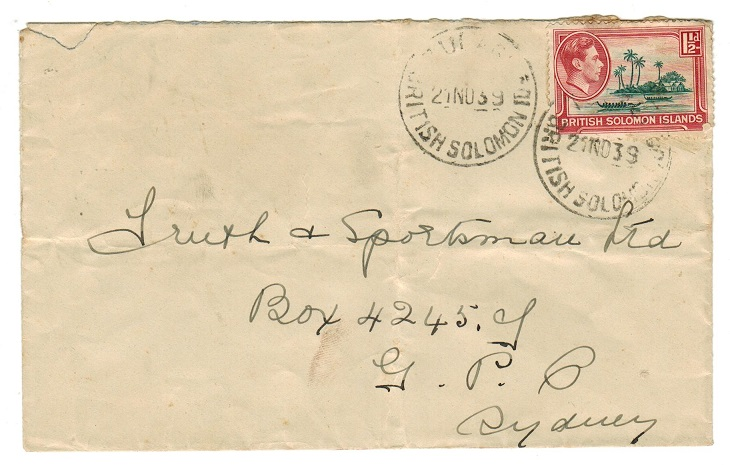 SOLOMON ISLANDS - 1939 1d rate cover to Australia used at TULAGI.