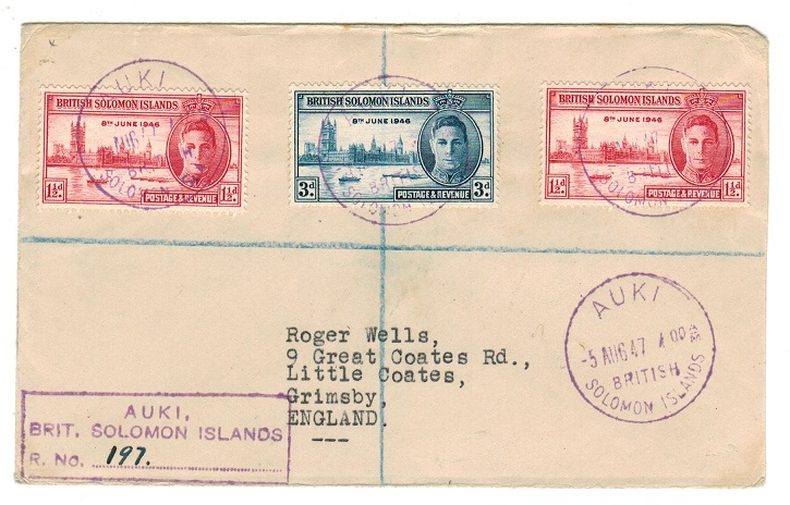 SOLOMON ISLANDS - 1947 registered cover to UK with