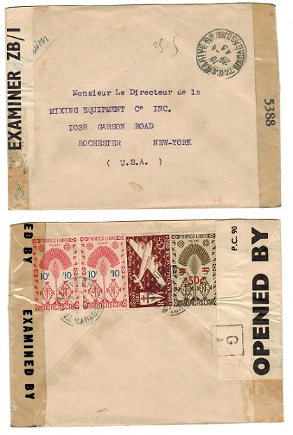 MADAGASCAR - 1945 censor cover to USA under British Occupation.