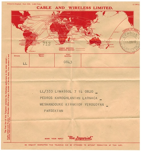 CYPRUS - 1946 use of