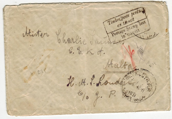 MALTA - 1931 POSTAGE STAMP LOST IN TRANSIT inward cover from Egypt via Gibraltar.