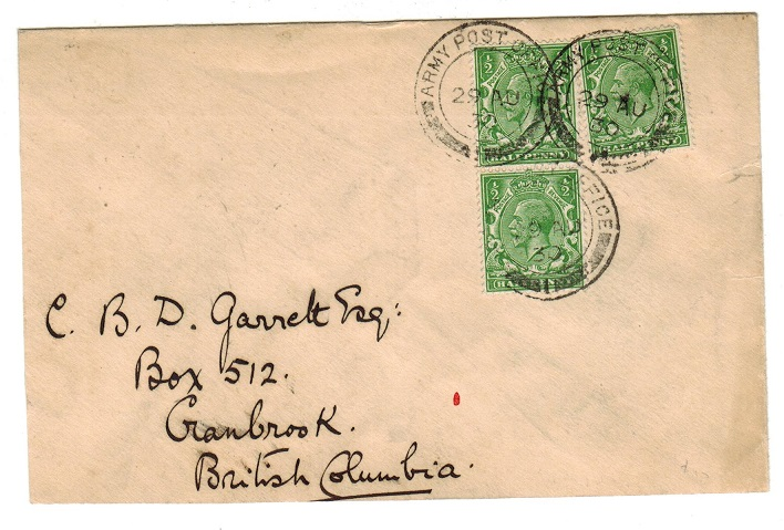 HONG KONG - 1930 ARMY POST OFFICE/1 cover to UK.
