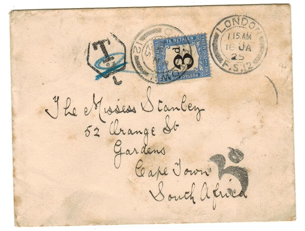 SOUTH AFRICA - 1925 inward underpaid cover from UK with 3d