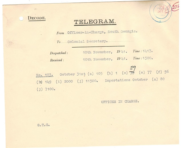 FALKLAND ISLANDS - 1944 TELEGRAM form to the Colonial Secretary sent at South Georgia.