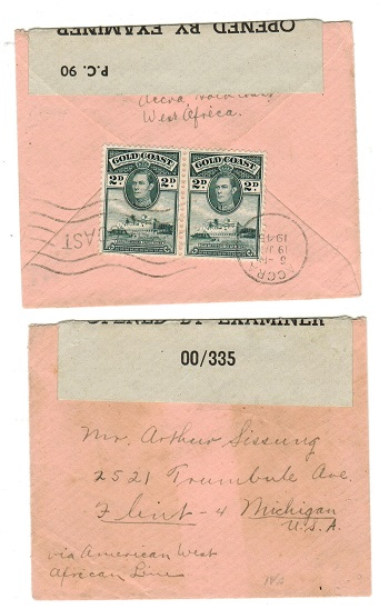 GOLD COAST - 1945 censored cover to USA with OBE/00/335 label used at ACCRA.