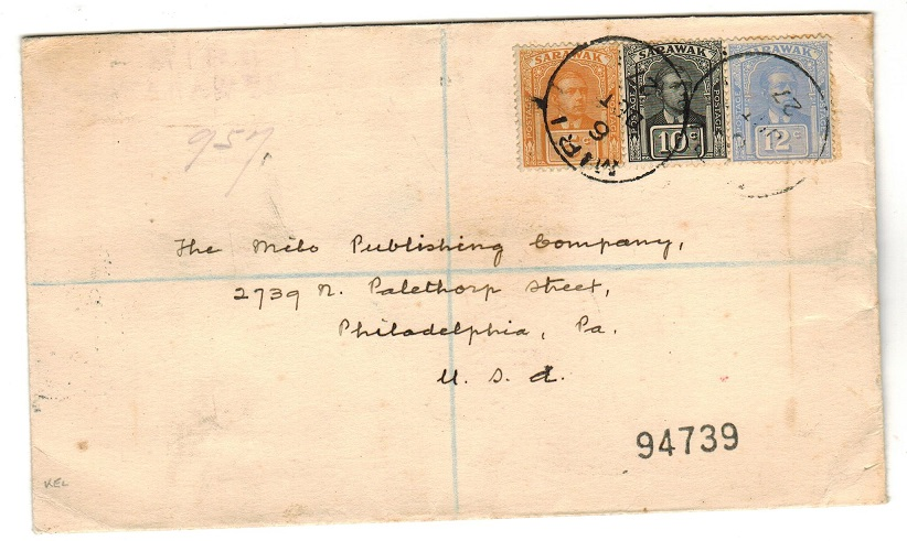 SARAWAK - 1927 registered cover to USA used at MIRI.