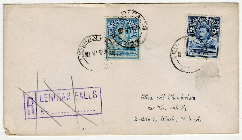 BASUTOLAND - 1954 4 1/2d rate registered cover to USA used at LEBIHAN FALLS.