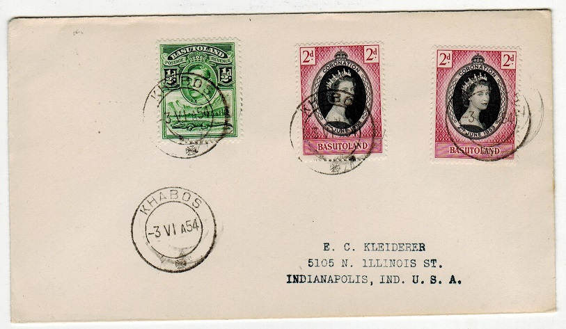 BASUTOLAND - 1954 4 1/2d rate cover to USA used at KHABOS.
