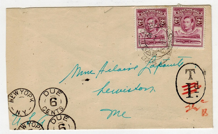 BASUTOLAND - 1953 4d rate underpaid cover to USA used at MOKHOTLONG with scarce oval TAX/1d h/s.