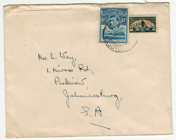 BASUTOLAND - 1948 (circa) combination cover with South African adhesive at MASERU.