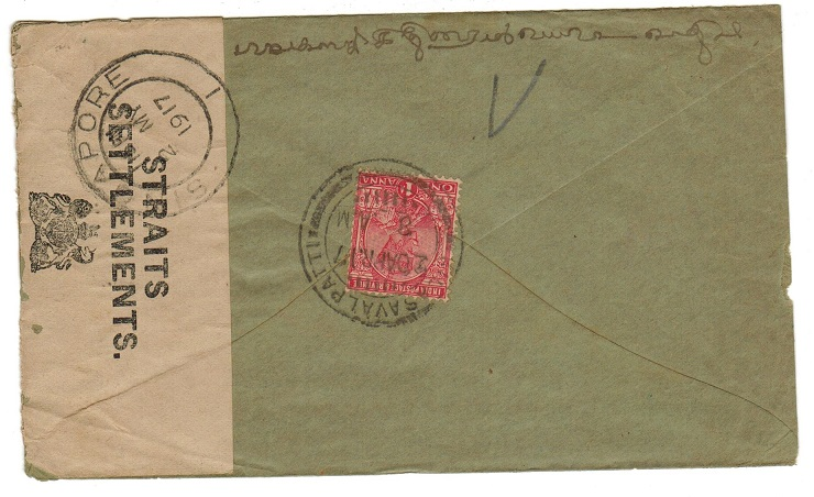 SINGAPORE - 1917 inward censored cover from India.
