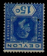 CEYLON - 1912 15c ultramarine in fine mint condition with INVERTED WATERMARK.  SG 311aw.
