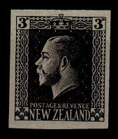 NEW ZEALAND - 1915 3d IMPERFORATE PLATE PROOF in black.