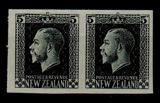 NEW ZEALAND - 1915 5d IMPERFORATE PLATE PROOF pair in black.