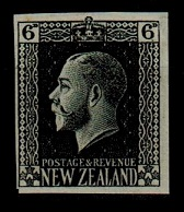 NEW ZEALAND - 1915 6d IMPERFORATE PLATE PROOF in black.