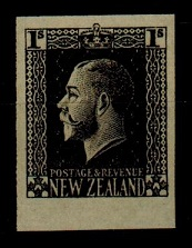 NEW ZEALAND - 1915 1/- IMPERFORATE PLATE PROOF in black.