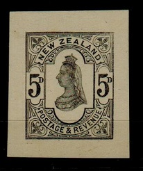 NEW ZEALAND - 1882 5d IMPERFORATE COLOUR TRIAL in black.