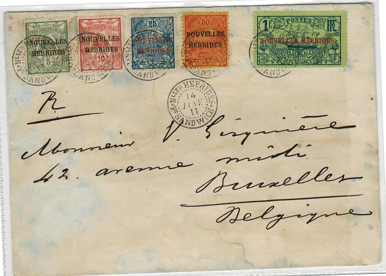 NEW HEBRIDES - 1911 cover to Belgium with New Caledonia set used at PORT SANDWICH.