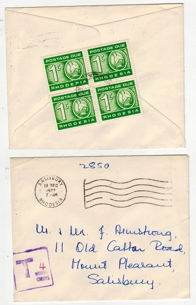RHODESIA AND NYASALAND - 1972 stampless local cover with 1c (x4) POSTAGE DUES added.