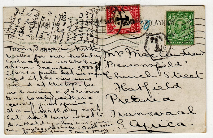 TRANSVAAL - 1913 underpaid inward postcard from UK with 1d