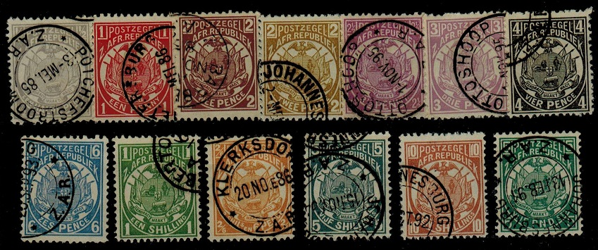 TRANSVAAL - 1885 series to £5 (reprints/possible fake cancels) SG 175-187.