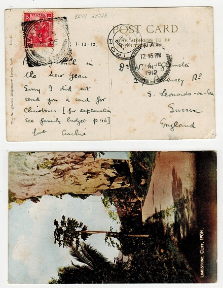MALAYA (F.M.S.) - 1912 3c rate postcard to UK (tone spots) used at BATU/GAJAH.