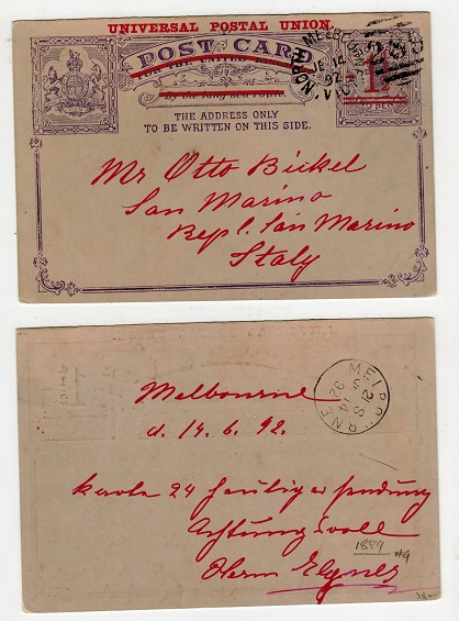 AUSTRALIA (Victoria) - 1891 1 1/2d on 2d PSC to Italy used at MELBOURNE.  H&G 12.