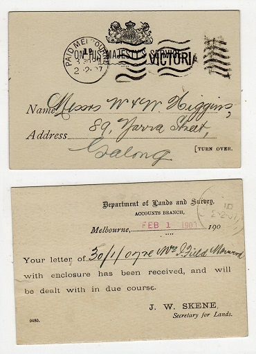 AUSTRALIA (Victoria ) - 1907 OHMS stampless postcard with PAID MELBOURNE cancel.