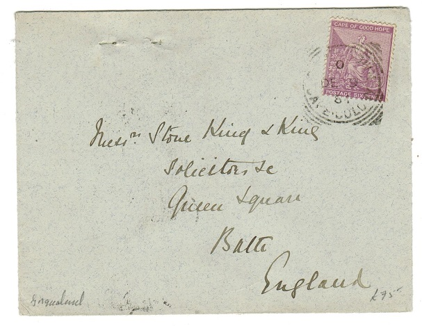 CAPE OF GOOD HOPE - 1884 6d rate cover to UK with