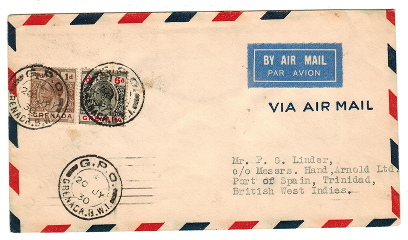 GRENADA - 1930 first flight cover to Trinidad.