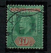 NORTHERN NIGERIA - 1911 10/- green and red cancelled KANO.  SG 39.